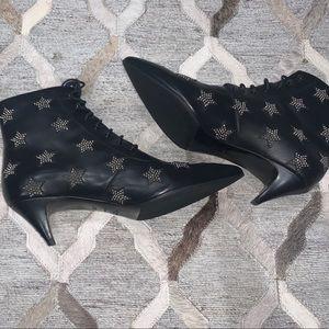 Saint Laurent Charlotte Star Leather Lace-Up Boots